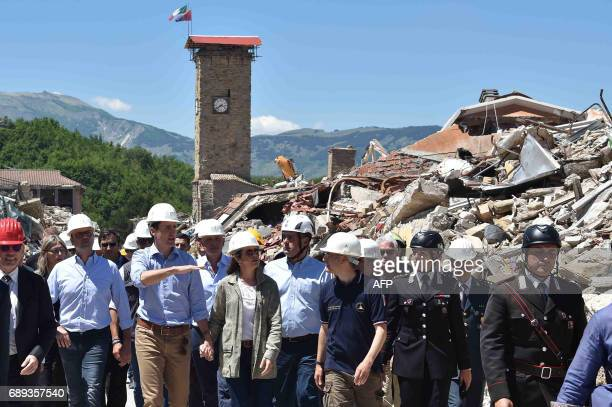 Canadian Prime Minister Justin Trudeau and his wife Sophie Gregoire are escorted by Italy Foreign Minister Angelino Alfano and officials during a...