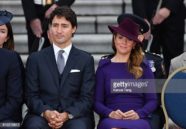 Canadian Prime Minister Justin Trudeau and his wife Sophie Gregorire attend the Official Welcome Ceremony for the Royal Tour at the British Columbia...