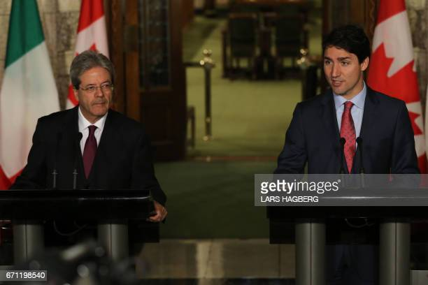 Canadian Prime Minister Justin Trudeau and Prime Minister Paolo Gentiloni of Italy hold a joint press conference in Ottawa Ontario April 21 2017 /...