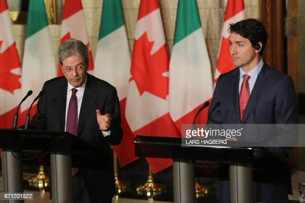 Canadian Prime Minister Justin Trudeau and Prime Minister Paolo Gentiloni of Italy hold a joint press conference in the Foyer of the House of Commons...