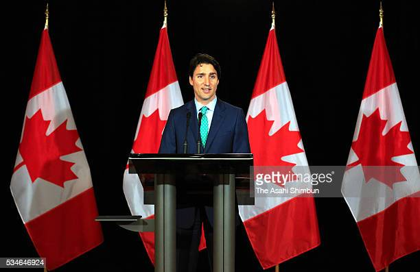 Canadian Prime Minister Justin Trudeau attends a press conference after the Group of Seven summit on May 27 2016 in Shima Mie Japan The 2day Group of...