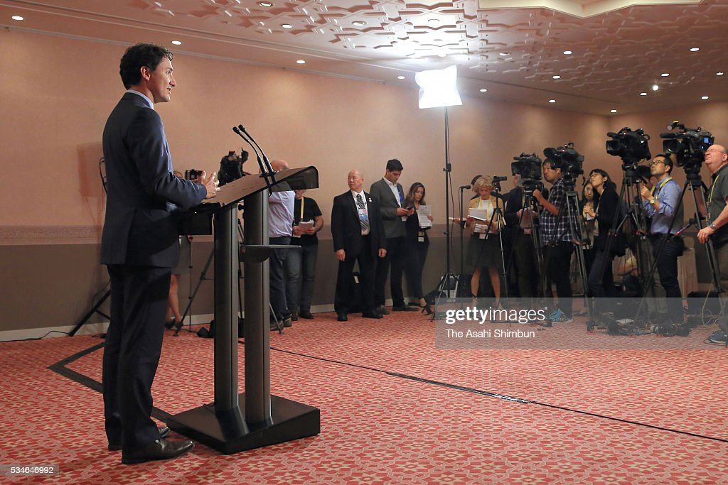 Canadian Prime Minister <a gi-track='captionPersonalityLinkClicked' href=/galleries/search?phrase=Justin+Trudeau&family=editorial&specificpeople=2616495 ng-click='$event.stopPropagation()'>Justin Trudeau</a> attends a press conference after the Group of Seven summit on May 27, 2016 in Shima, Mie, Japan. The 2-day Group of Seven summit concludes after discussing key global issues such as global economy and counter terrorism measures.