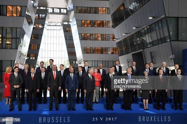 TOPSHOT Canadian Prime Minister Justin Trudeau Bulgaria's President Rumen Radev Albanian Prime Minister Edi Rama Belgian Prime Minister Charles...