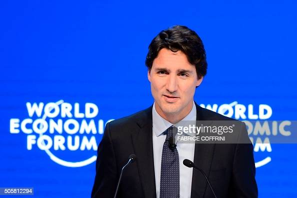 Canadian Prime Minister Justin Trudeau delivers a speech during a session of the World Economic Forum annual meeting in Davos on January 20 2016 A...