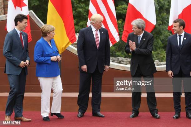Canadian Prime Minister Justin Trudeau German Chancellor Angela Merkel US President Donald Trump Italian Prime Minister Paolo Gentiloni and French...