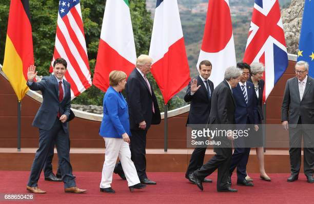 Canadian Prime Minister Justin Trudeau German Chancellor Angela Merkel US President Donald Trump French President Emmanuel Macron Italian Prime...