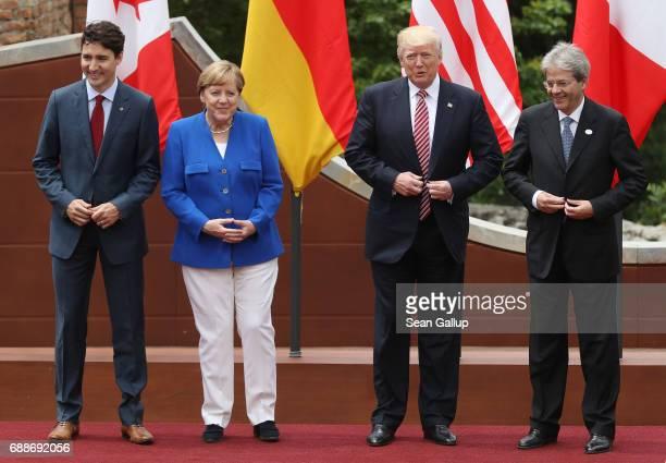 Canadian Prime Minister Justin Trudeau German Chancellor Angela Merkel US President Donald Trump and Italian Prime Minister Paolo Gentiloni arrive...