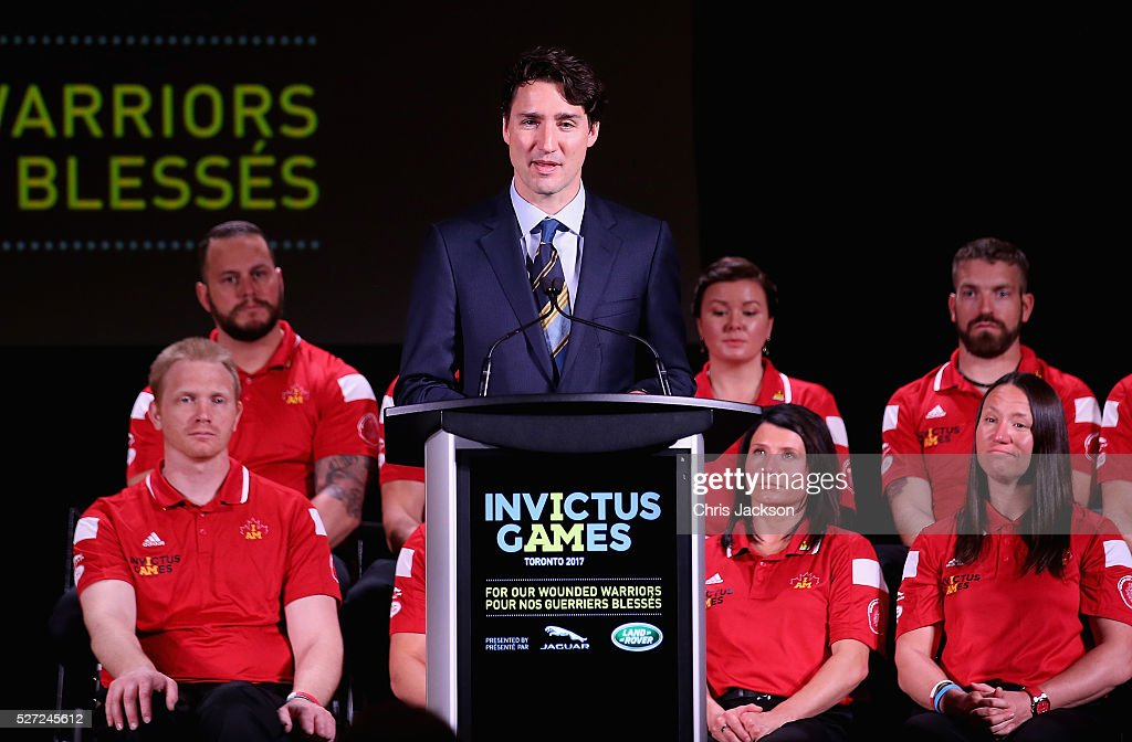Canadian Prime Minister <a gi-track='captionPersonalityLinkClicked' href=/galleries/search?phrase=Justin+Trudeau&family=editorial&specificpeople=2616495 ng-click='$event.stopPropagation()'>Justin Trudeau</a> gives a speech at the Lauch of Invictus 2017 Toronto at the Fairmont Royal York Hotel on May 2, 2016 in Toronto, Canada. Prince Harry is in Toronto for the Launch of the 2017 Toronto Invictus Games before heading down to Miami and the 2016 Invictus Games in Orlando.