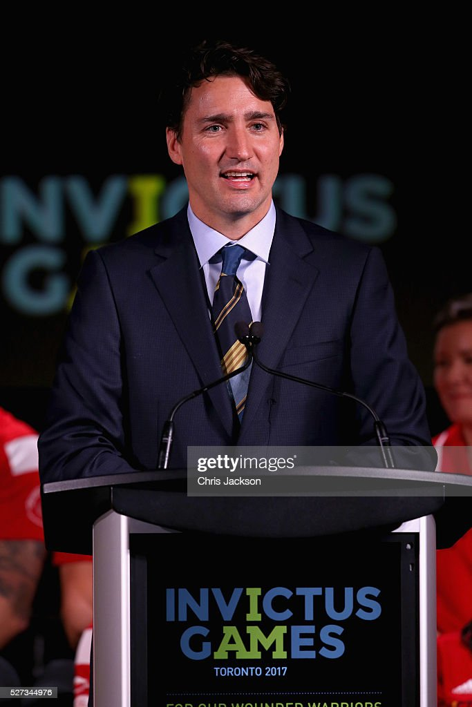 Canadian Prime Minister Justin Trudeau gives a speech at the Lauch of Invictus 2017 Toronto at the Fairmont Royal York Hotel on May 2, 2016 in Toronto, Canada. Prince Harry is in Toronto for the Launch of the 2017 Toronto Invictus Games before heading down to Miami and the 2016 Invictus Games in Orlando.