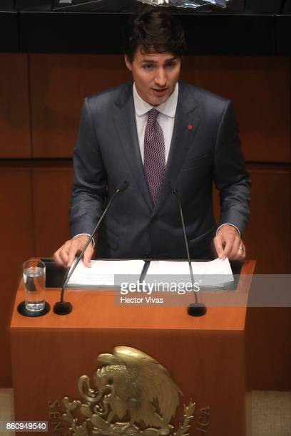 Canadian Prime Minister Justin Trudeau gives a speech before the Mexican Senate as part of the Official Visit of Canadian Prime Minister Justin...
