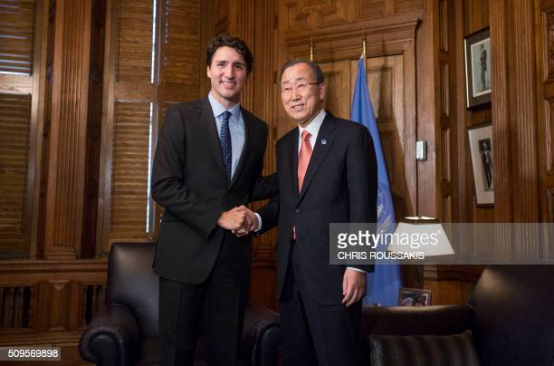 Canadian Prime Minister Justin Trudeau greets UN SecretaryGeneral Ban Kimoon at his office on Parliament Hill in Ottawa Ontario on February 11 2016 /...