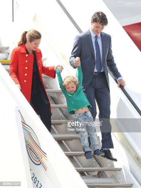 Canadian Prime Minister Justin Trudeau his wife Sophie Gregoire and son Hadrien arrive at Hamburg Airport for the Hamburg G20 economic summit on July...