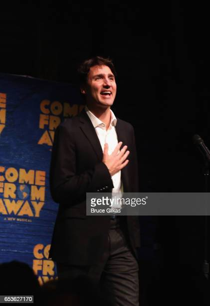 Canadian Prime Minister Justin Trudeau makes a welcoming introduction before the hit musical 'Come from Away' on Broadway at The Schoenfeld Theatre...