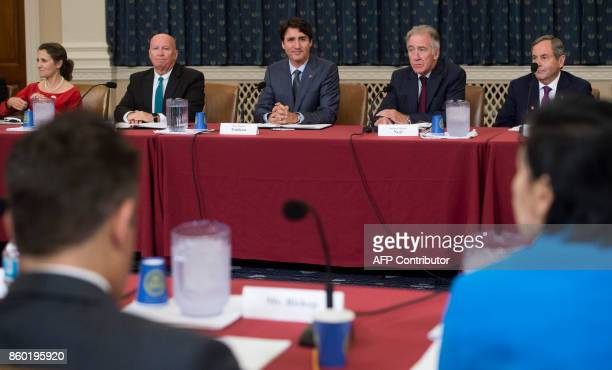 Canadian Prime Minister Justin Trudeau meets with members of the House Committee on Ways and Means including Committee Chairman Kevin Brady...
