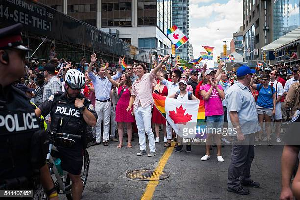 Canadian Prime Minister Justin Trudeau participates at the annual Pride Festival parade July 3 2016 in Toronto Ontario Canada Prime Minister Justin...