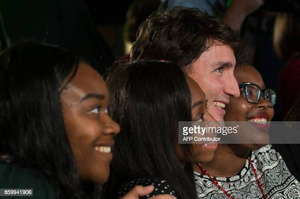 Canadian Prime Minister Justin Trudeau poses for a photo with High school students after a discussion at the 2017 Fortune Most Powerful Women Summit...