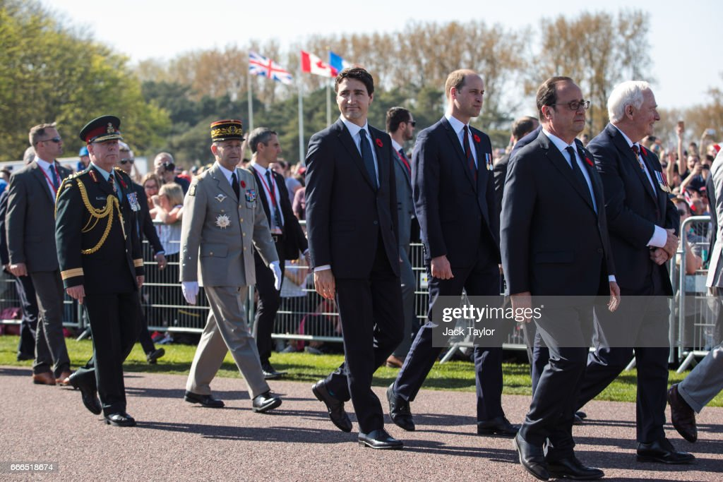 Canadian Prime Minister Justin Trudeau (C) Prince William, Duke of Cambridge (3rd R); French President Francois Hollande (2nd R) Governor General of Canada David Johnston (R) arrive at the Canadian National Vimy Memorial on April 9, 2017 in Vimy, France. The Prince of Wales, The Duke of Cambridge and Prince Harry along with Canadian Prime Minister Justin Trudeau and French President Francois Hollande attend the centenary commemorative service at the Canadian National Vimy Memorial. The Battle Of Vimy Ridge was fought during WW1 as part of the initial phase of the Battle of Arras. Although British-led it was mostly fought by the Canadian Corps.