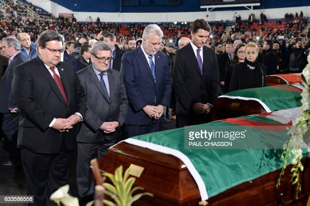 Canadian Prime Minister Justin Trudeau Quebec Premier Philippe Couillard Quebec City Mayor Regis Labeaume and Montreal Mayor Denis Coderre pay their...