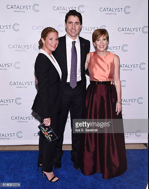 Canadian Prime Minister Justin Trudeau Sophie GregoireTrudeau and Deborah Gillis President CEO Catalyst attend the Catalyst Awards Dinner at Waldorf...