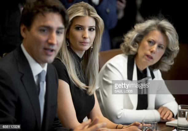 Canadian Prime Minister Justin Trudeau speaks alongside Ivanka Trump daughter of US President Donald Trump and Dawn Farrell President and CEO of...