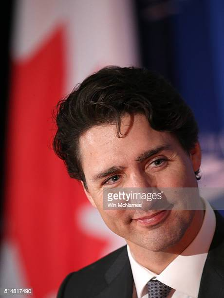 Canadian Prime Minister Justin Trudeau speaks at the Global Progress luncheon sponsored by the Center for American Progress March 11 2016 in...