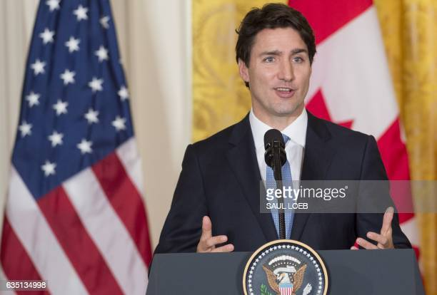 Canadian Prime Minister Justin Trudeau speaks during a joint press conference with US President Donald Trump in the East Room of the White House in...