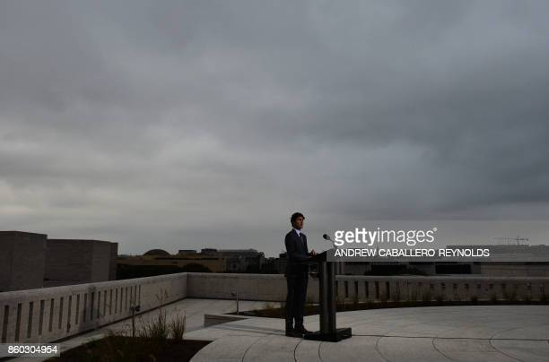 Canadian Prime Minister Justin Trudeau speaks during a press conference at the Canadian Embassy in Washington DC on October 11 2017 / AFP PHOTO /...
