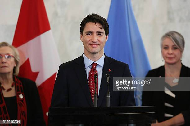 Canadian Prime Minister Justin Trudeau speaks during an event at the United Nations headquarters on March 16 2016 in New York City In an announcement...