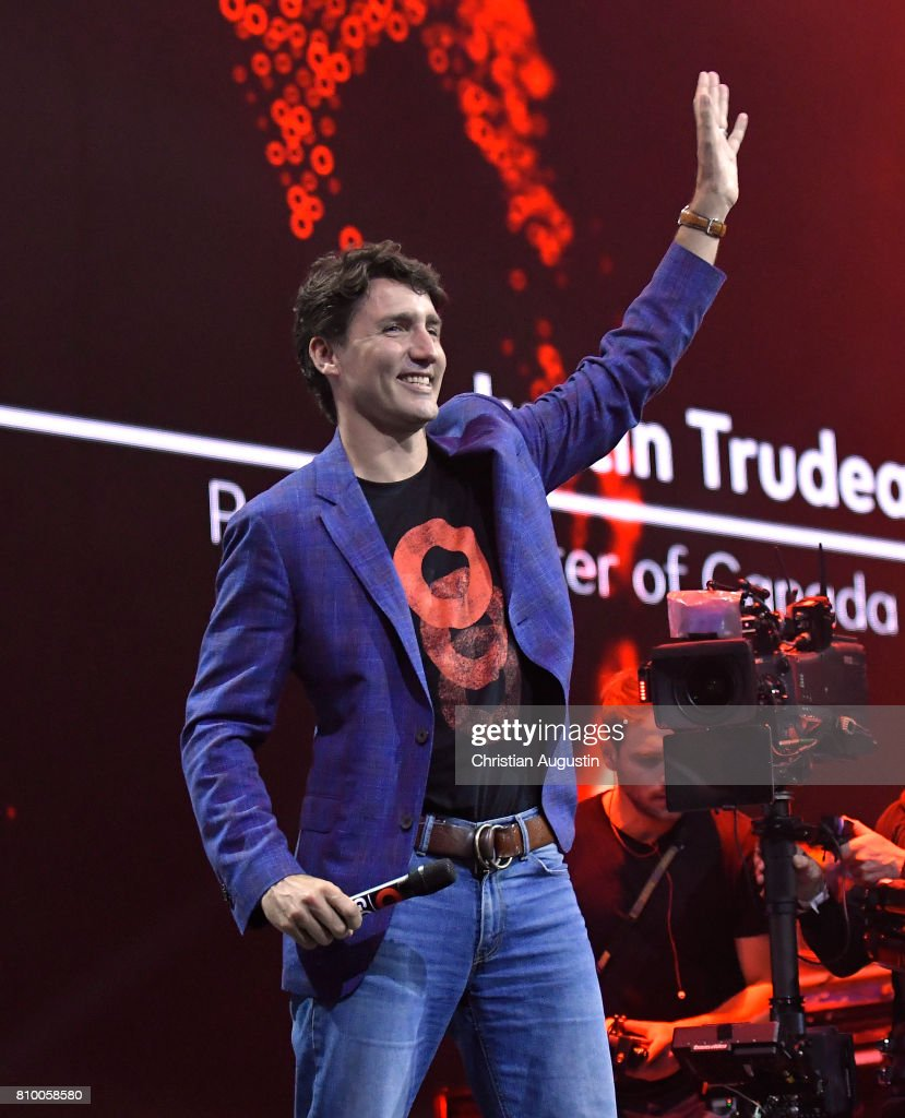 Canadian Prime Minister Justin Trudeau speaks during the Global Citizen Festival at the Barclaycard Arena on July 6, 2017 in Hamburg, Germany.
