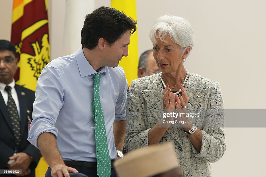 Canadian Prime Minister Justin Trudeau talks with International Monetary Fund Managing Director Christine Lagarde during a 'Outreach Session' on May 27, 2016 in Kashikojima, Japan. In the two-day summit, the G7 leaders discussed the pressing global issues including counter-terrorism, energy policy, and sustainable development.