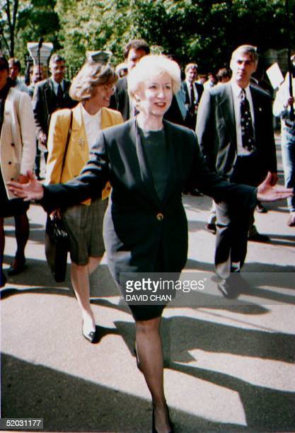 OTTAWA ON SEPTEMBER 8 Canadian Prime Minister Kim Campbell leaves the Government House in Ottawa Canada 08 September 1993 after announcing that the...
