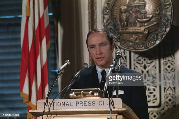 Canadian Prime Minister Pierre Elliot Trudeau speaks at the National Press Club 3/25 In the Capitol for a visit with President Nixon Trudeau is the...