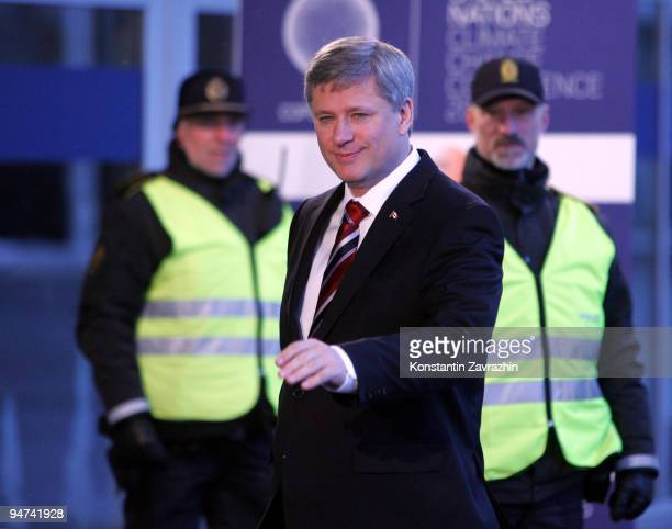Canadian Prime Minister Stephen Harper arrives at the morning session of United Nations Climate Change Conference December 18 2009 in Copenhagen...