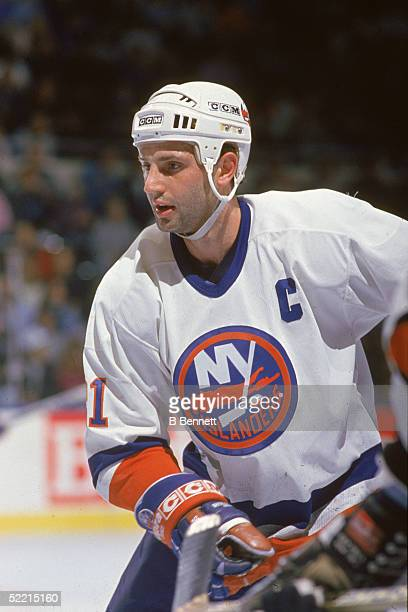 Canadian pro hockey player Brent Sutter forward for the New York Islanders in action during a home game at Nassau Coliseum Uniondale New York early...