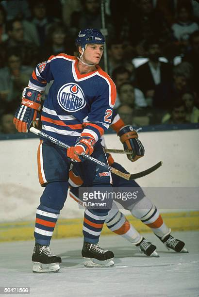 Canadian pro hockey player Mike Krushelnyski of The Edmonton Oilers on the ice April 1986