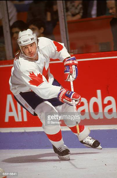 Canadian professional hockey player Al MacInnis defense for Team Canada on the ice during the 1991 Canada Cup Canada 1991