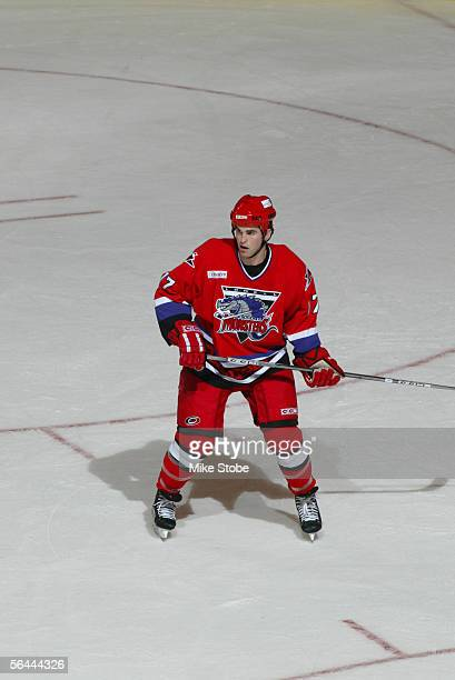 Canadian professional hockey player Andrew Ladd of the Lowell Lock Monsters on the ice in a game against the Bridgeport Sound Tigers Bridgeport...