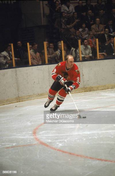 Canadian professional hockey player Bobby Hull of the Chicago Blackhawks on the ice with the puck 1960s