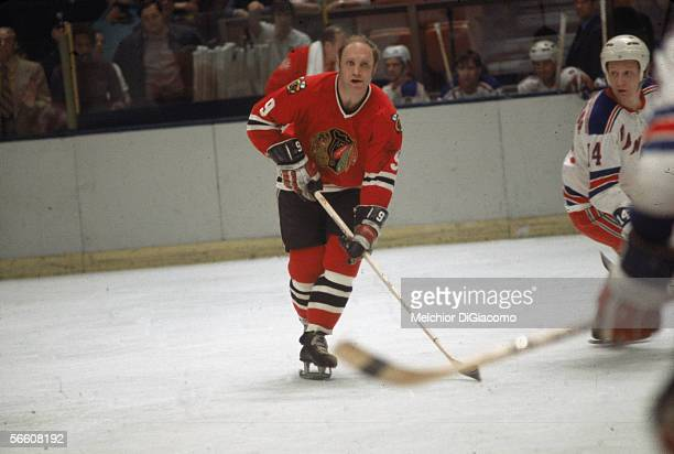Canadian professional hockey player Bobby Hull of the Chicago Blackhawks on the ice during a game against the New York Rangers 1960s