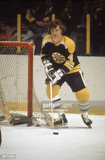 Canadian professional hockey player Bobby Orr of the Boston Bruins skates on the ice during a road game 1970s