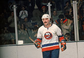 Canadian professional hockey player Bryan Trottier of the New York Islanders during a home game Nassau Coliseum Uniondale New York February 1977