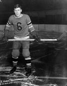 Canadian professional hockey player Bun Cook of the New York Rangers poses on the ice early 1930s He and 'the Bread Line' which consisted of Bun his...