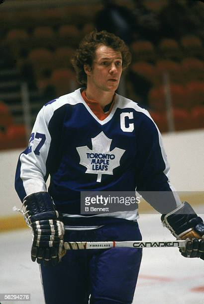 Canadian professional hockey player Darryl Sittler center for the Toronto Maple Leafs on the ice during a game 1970s