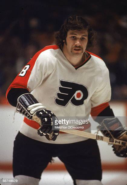 Canadian professional hockey player Dave Schultz enforcer for the Philadelphia Flyers on the ice during a road game 1970s