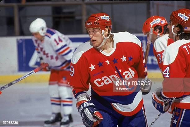 Canadian professional hockey player John Druce of the Washington Capitals skates on the ice during a road game against the New York Rangers Madison...