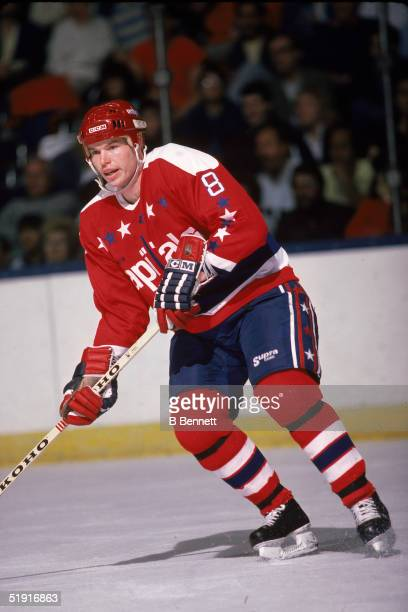Canadian professional hockey player Larry Murphy defenseman of the Washington Capitals in action during a road game against the New York Islanders...