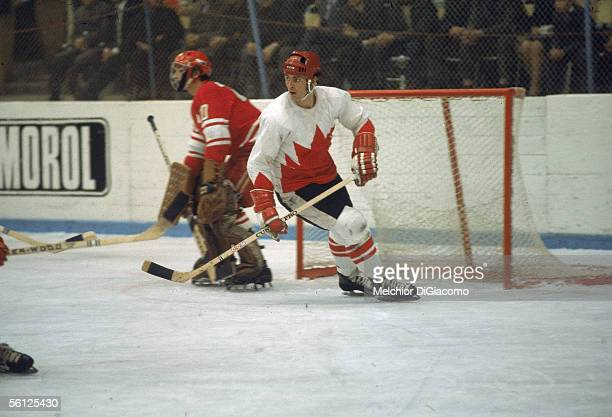Canadian professional hockey player Paul Henderson left wing for Team Canada in front of the Soviet goal during a game from the Summit Series 1972...
