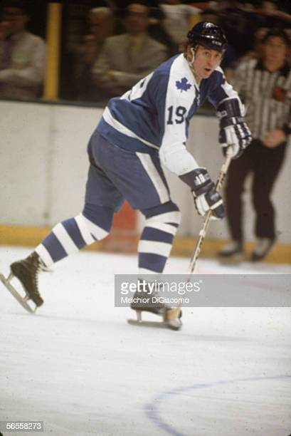 Canadian professional hockey player Paul Henderson right wing for the Toronto Maple Leafs in action during a road game against the New York Rangers...