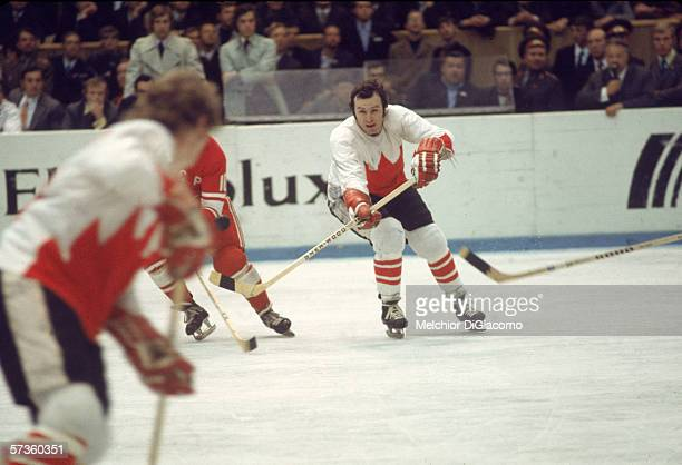 Canadian professional hockey player Ron Ellis communicates with a teammate during a game at the 1972 Summit Series against the Soviet Union September...