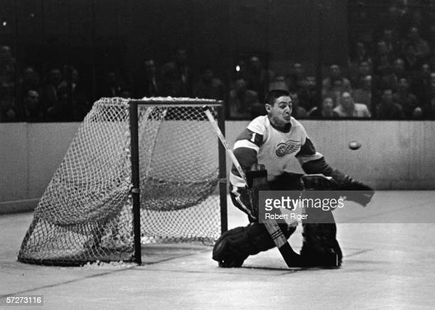 Canadian professional hockey player Terry Sawchuk goaltender for the Detroit Red Wings crouches down as he prepares to make a save at the goal 1950s...